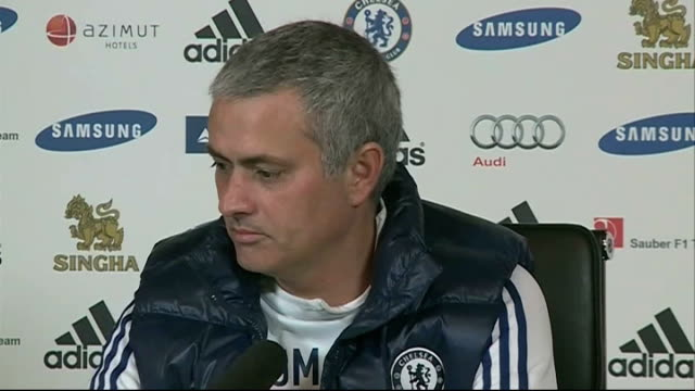 london stamford bridge int jose mourinho press conference sot refuses to comment about speculation surrounding wayne rooney - 断る点の映像素材/bロール