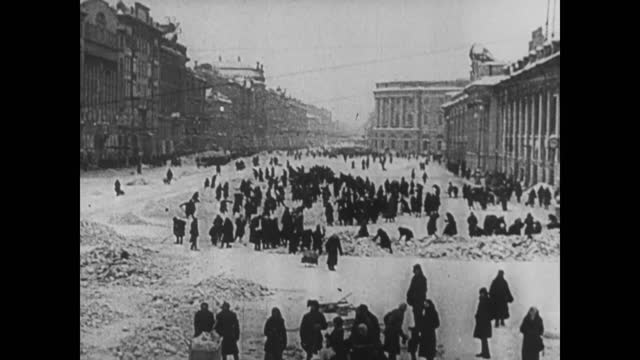 wehrmacht positions/ russian forces in leningrad/ russian civilians in leningrad suffering from winter cold, desease and hunger/ casual life in... - 1941 stock videos & royalty-free footage