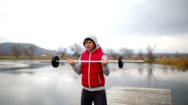 Weight lifter in nature