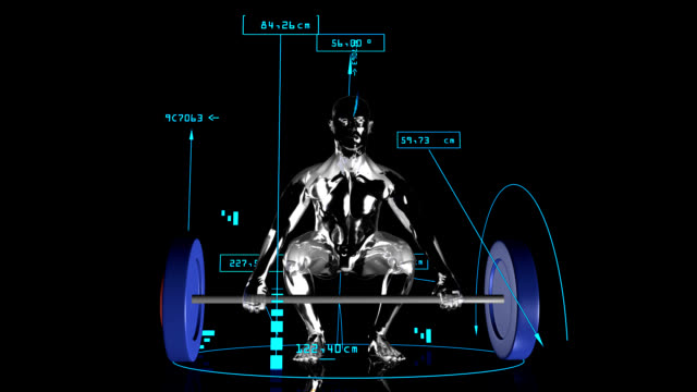 3d weight lifting man with technical data - weight training stock videos and b-roll footage