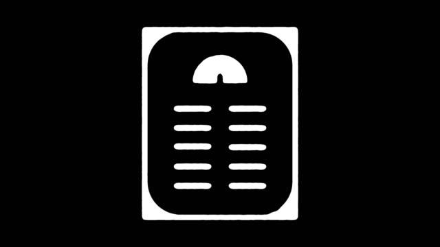 weight loss line icon animation with alpha - attrezzi da lavoro video stock e b–roll