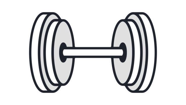 weight training flat line icon animation with alpha - body building stock videos & royalty-free footage