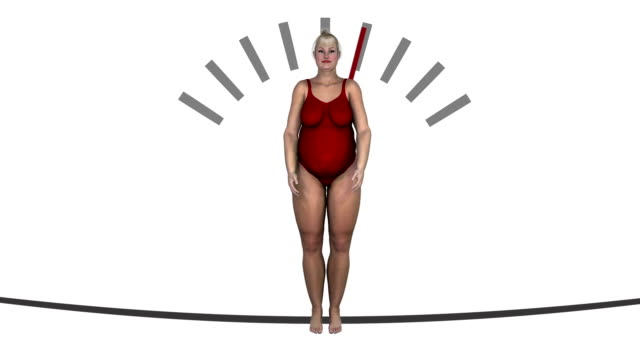 Weightloss jojo loop woman in red bathing suit