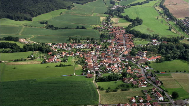 weilar  - aerial view - thuringia,  wartburgkreis helicopter filming,  aerial video,  cineflex,  establishing shot,  germany - turingia video stock e b–roll