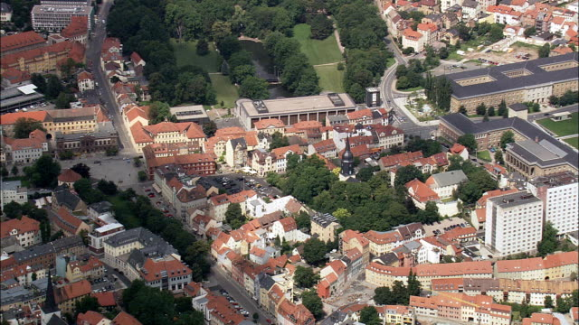 weimar  - aerial view - thuringia,  helicopter filming,  aerial video,  cineflex,  establishing shot,  germany - weimar video stock e b–roll