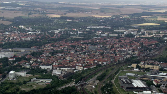 weimer - aerial view - saxony-anhalt,  helicopter filming,  aerial video,  cineflex,  establishing shot,  germany - weimar video stock e b–roll
