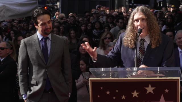 vídeos de stock, filmes e b-roll de speech weird al yankovic at linmanuel miranda honored with star on the hollywood walk of fame in los angeles ca - weird al yankovic