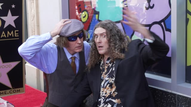 vídeos de stock, filmes e b-roll de weird al yankovic at the weird al yankovic honored with a star on the hollywood walk of fame on august 27 2018 in hollywood california - weird al yankovic