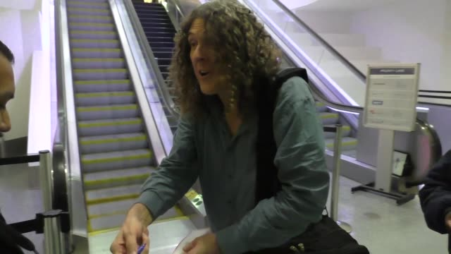Weird Al Yankovic greets fans while departing at LAX Airport in Los Angeles in Celebrity Sightings in Los Angeles