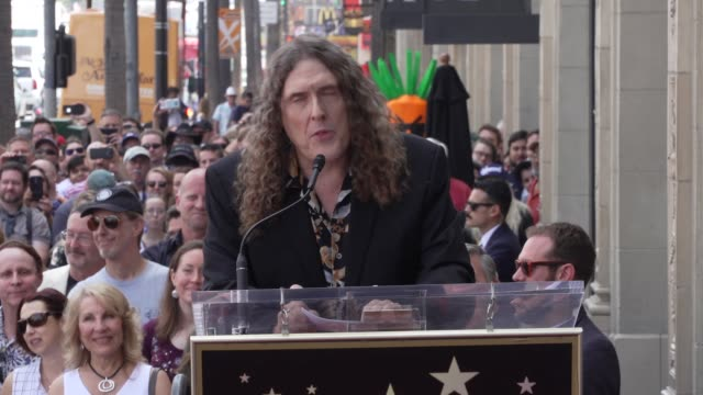 vídeos de stock, filmes e b-roll de speech weird al yankovic on his career and cracking a few jokes about his star at the weird al yankovic honored with a star on the hollywood walk of... - weird al yankovic