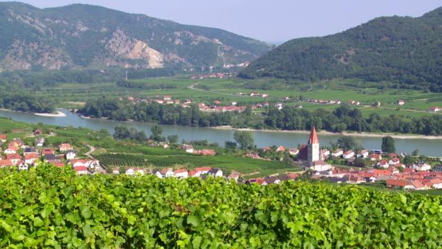 weissenkirchen on danube river in austria pan - hill stock videos & royalty-free footage