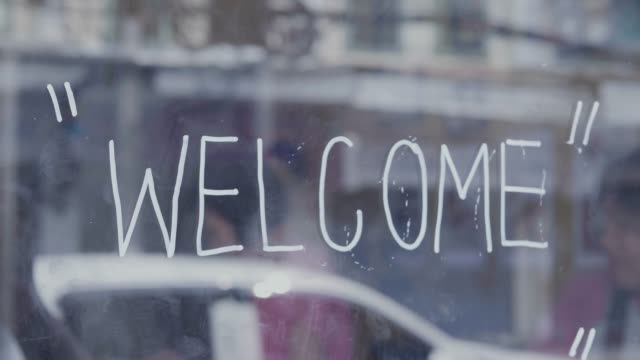 Welcome Sign on the door
