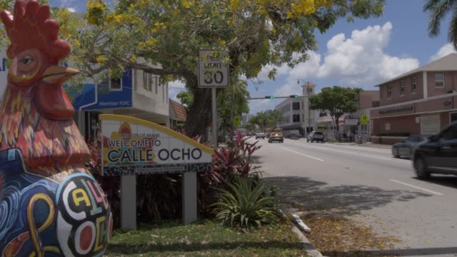Welcome to Calle Ocho on 8th Street and yellow cab in Little Havana, Little Havana, Miami, Florida, United States of America, North America