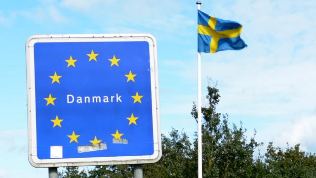 Welcome to Denmark sign of EU from Germany to Denmark