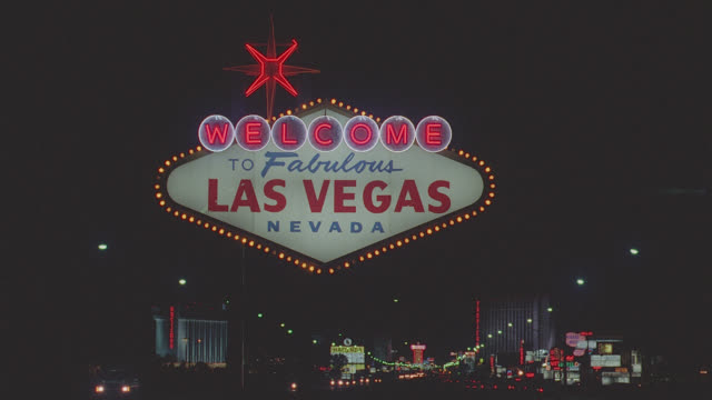 """welcome to las vegas"" sign - night - las vegas stock videos & royalty-free footage"