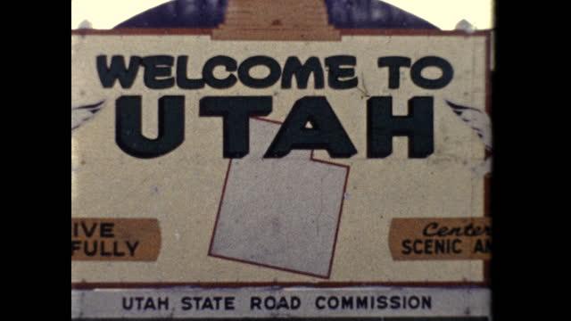 """vidéos et rushes de """"welcome to utah"""" sign - utah"""