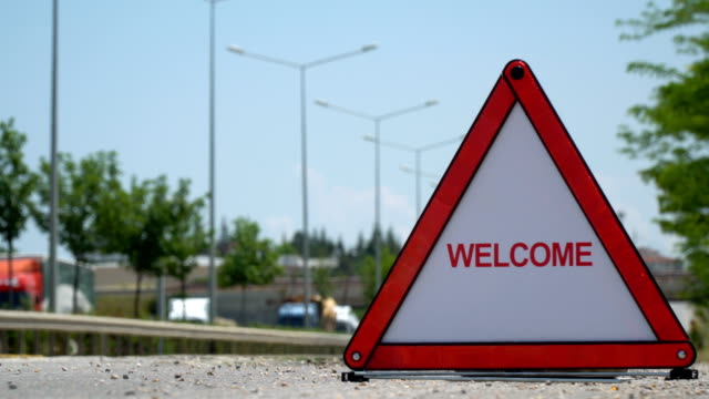 welcome - traffic sign - road sign stock videos & royalty-free footage