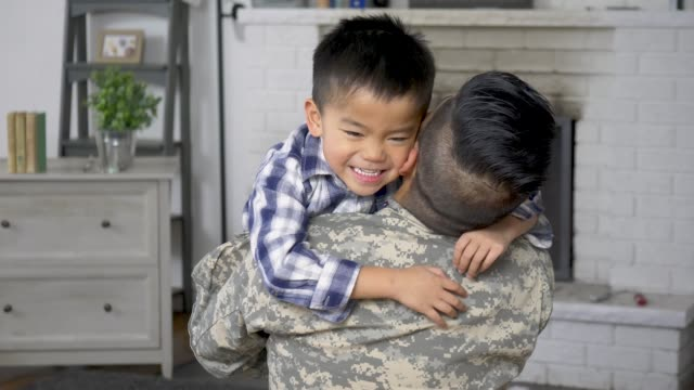 welcoming dad home - military recruit stock videos & royalty-free footage