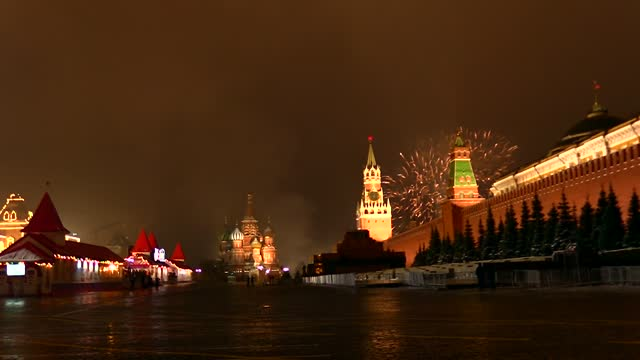 welcoming each new year with amazing demonstrations, russia met with 2021 under the shadow of covid-19 restrictions. the entrance of the historical... - red square stock videos & royalty-free footage
