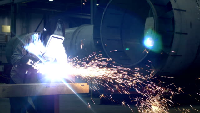 welder at work in metal fabrication shop - welding stock videos & royalty-free footage