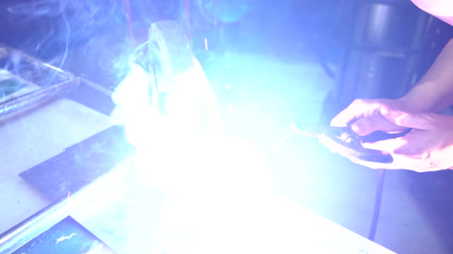 welder at work in metal industry - metal industry stock videos and b-roll footage