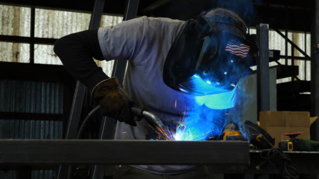 ms welder welding frame in metal shop - manufacturing occupation stock videos & royalty-free footage