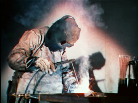 1946 welder welding in factory / industrial - metal industry stock videos and b-roll footage
