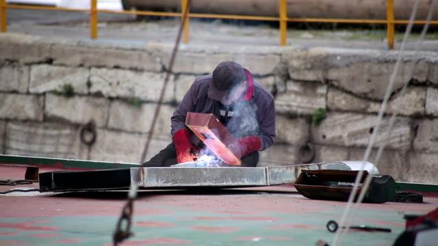 welder, welding, - welding helmet stock videos & royalty-free footage