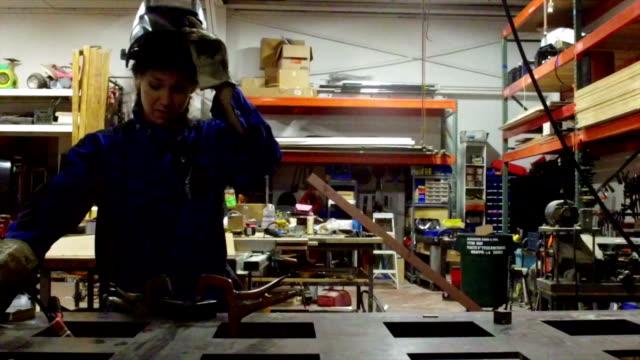 Welder working on metal - SLOW MOTION