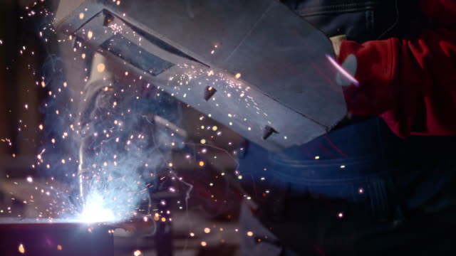 slo mo welding gasses and sparks - foundry stock videos & royalty-free footage