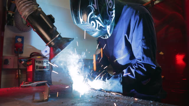 welding in the engineering workshop - newcastle upon tyne video stock e b–roll