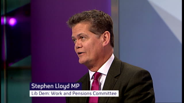 disability benefits universal credit system criticised england london gir int baroness greythompson and stephen lloyd mp studio - baroness stock videos & royalty-free footage