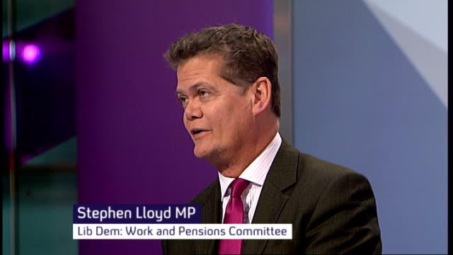disability benefits universal credit system criticised england london gir int baroness greythompson and stephen lloyd mp studio - mp stock-videos und b-roll-filmmaterial