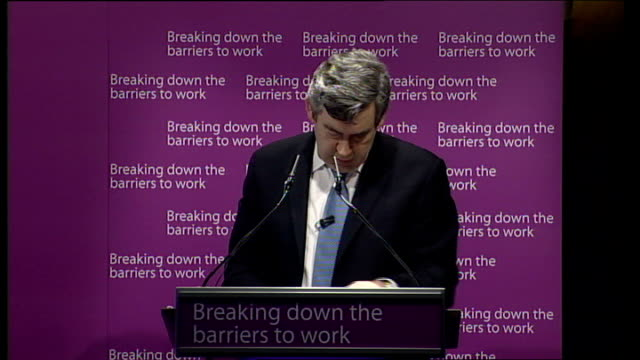 welfare reform press conference; gordon brown mp speech to press conference sot - let me thank report author david freud, john hutton for leading... - only young men stock videos & royalty-free footage