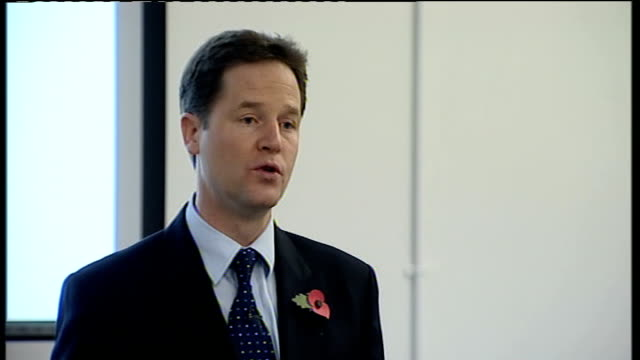 vídeos de stock e filmes b-roll de nick clegg and iain duncan smith speeches clegg speech sot jobcentre plus advisers themselves have been asking for more tools to encourage people... - plus key