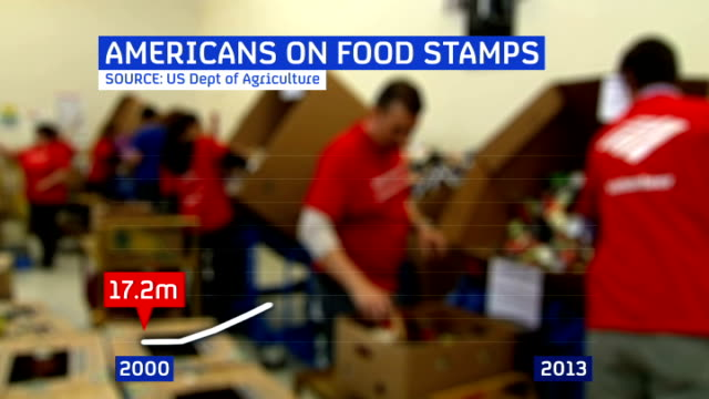 rise in use of food stamps graphicised sequence workers filling food boxes with 'americans on food stamps' graphic overlaid - food stamps stock videos & royalty-free footage