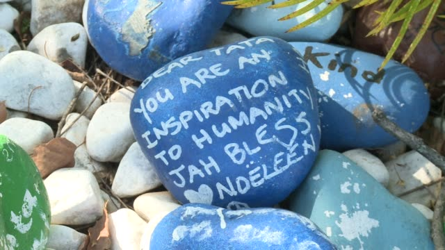 well wishers leave messages of support on brightly coloured stones outside nelson mandelas johannesburg home as the apartheid hero spends time with... - apartheid stock videos and b-roll footage