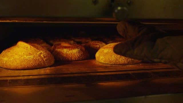 vídeos de stock e filmes b-roll de a well-baked bread on the oven in san francisco - pão