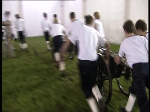 wellington field gun crew from wellington college practice for a royal tournament where the british military shows its talent away from the... - british military stock videos and b-roll footage