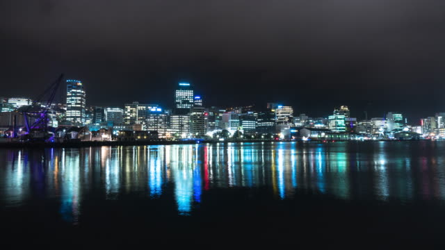 Wellington Waterfront at Night - Time Lapse