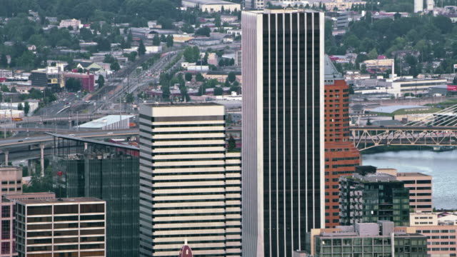 aerial wells fargo center and pacwest center in downtown portland, oregon - wells fargo stock videos and b-roll footage