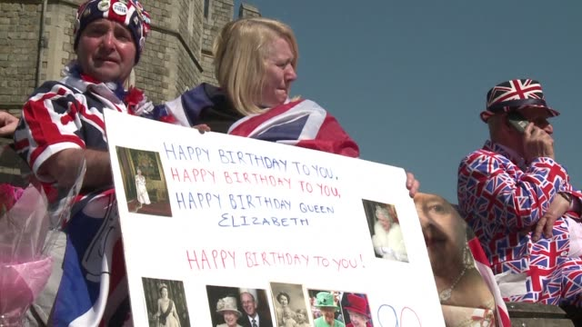wellwishers and fans gather at windsor castle hoping to catch a glimpse of queen elizabeth ii amid ongoing festivities for her 90th birthday - 90th birthday stock videos and b-roll footage