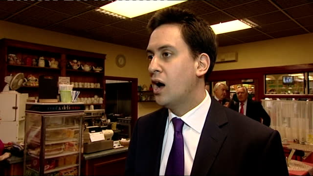 miliband campaigns ed miliband mp interview sot talks of supporting campign of the labour party in elections to the welsh assembly / praises welsh... - エド ミリバンド点の映像素材/bロール