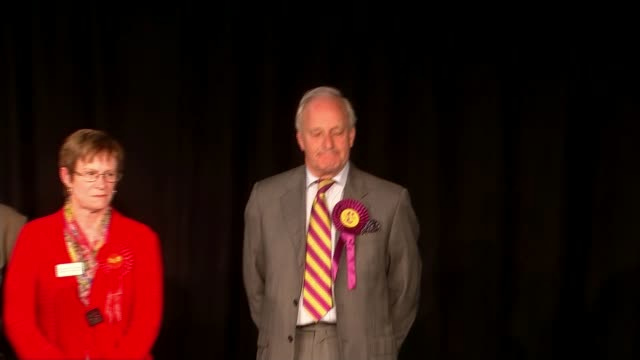 welsh assembly elections: results; wales: carmarthenshire: ext declaration officer sot - hamilton mostyn neil neil hamilton am on stage practically... - mid wales stock videos & royalty-free footage