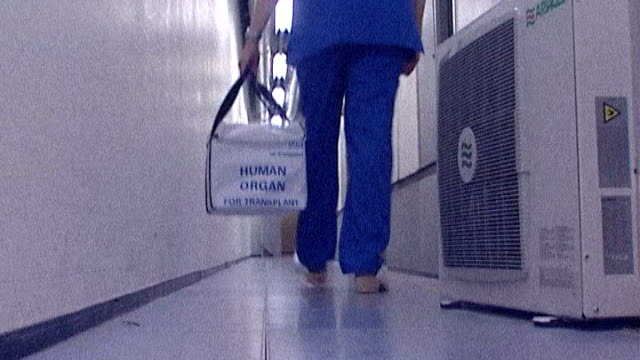 vidéos et rushes de welsh assembly passes organ donor law date london back view of hospital worker picking up bag labelled 'human organ for transplant' and carrying it... - tissu humain