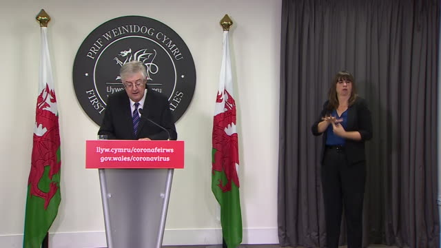 """welsh first minister mark drakeford saying leaders of the devolved nations in the uk need to """"pool together and share ideas"""" as the second wave of... - sharing stock videos & royalty-free footage"""