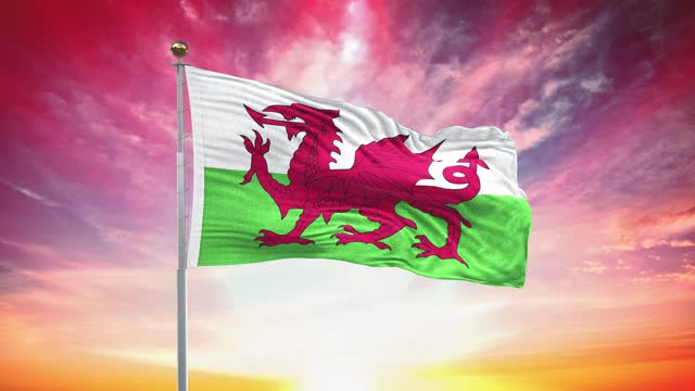 welsh flag, loopable, included green screen chroma key version, waving in wind slow motion animation, 4k realistic fabric texture, continuous seamless loop background - identity politics stock videos & royalty-free footage