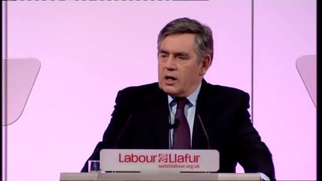 welsh labour conference 2010: gordon brown speech; gordon brown speech continues sot - thanks alan williams mp / thanks welsh mps / jokes about rugby... - seifenoper stock-videos und b-roll-filmmaterial