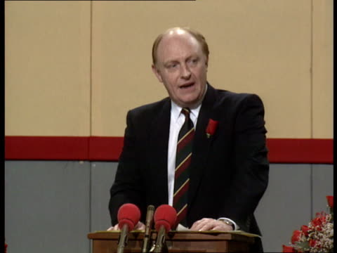 welsh labour party conference **** for wales llandudno neil kinnock along and into the aberconvy centre kinnock and wife glenys on platform as... - aberystwyth stock-videos und b-roll-filmmaterial