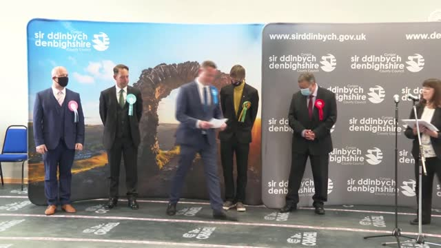 welsh parliament elections: labour party one short of a majority; wales: clwyd: int successful conservative party candidate stepping forward after... - channel 4 news stock videos & royalty-free footage